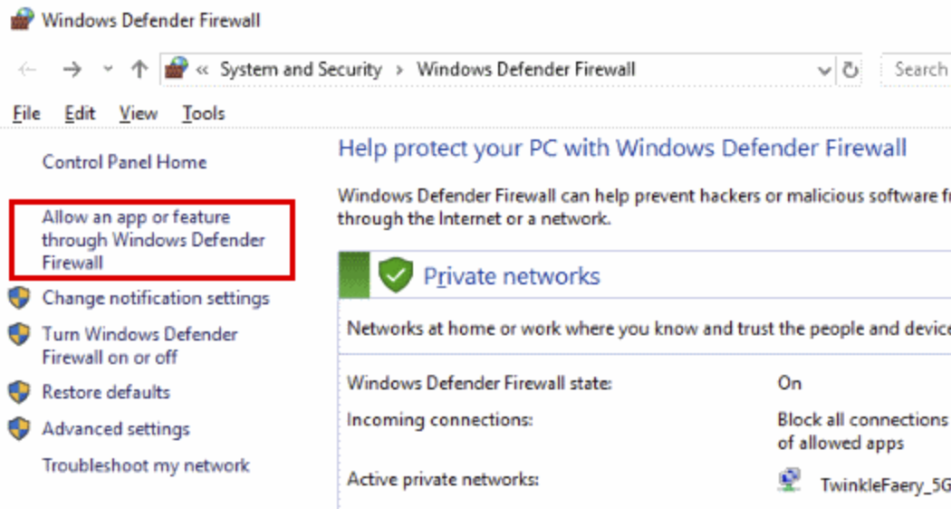 Click on Allow an app or feature through Windows Defender Firewall to open the Allowed App windows.