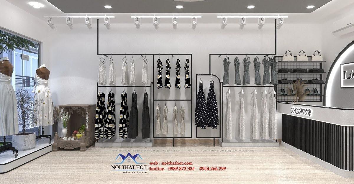 thiết kế nội thất shop quần áo tại thái bình