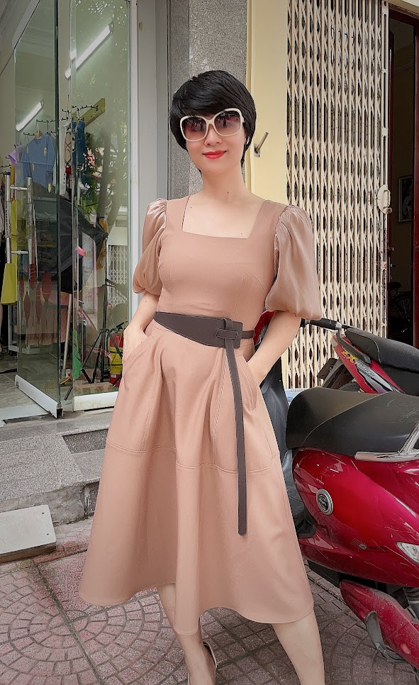 váy xòe midi công sở dạo phố thời trang thủy cát bà