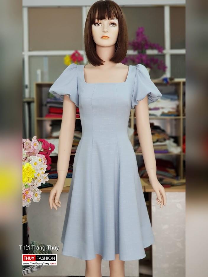 Váy xòe tay bồng cổ vuông màu xanh V719 thời trang thủy sài gòn