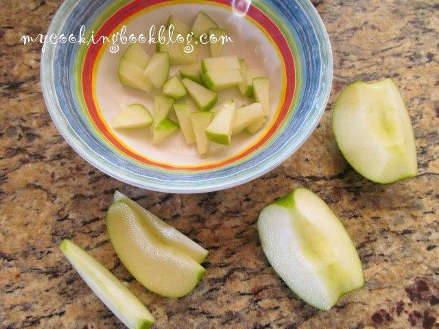 нарязване на зелената ябълка