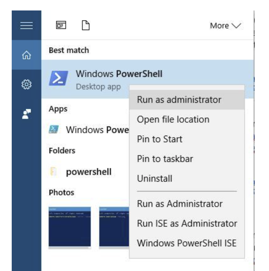 Press Windows + S and enter PowerShell. Right-click PowerShell from the list of results and choose Run as administrator.