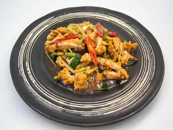 龍腸花(內臟)豆醬蒜苗炒