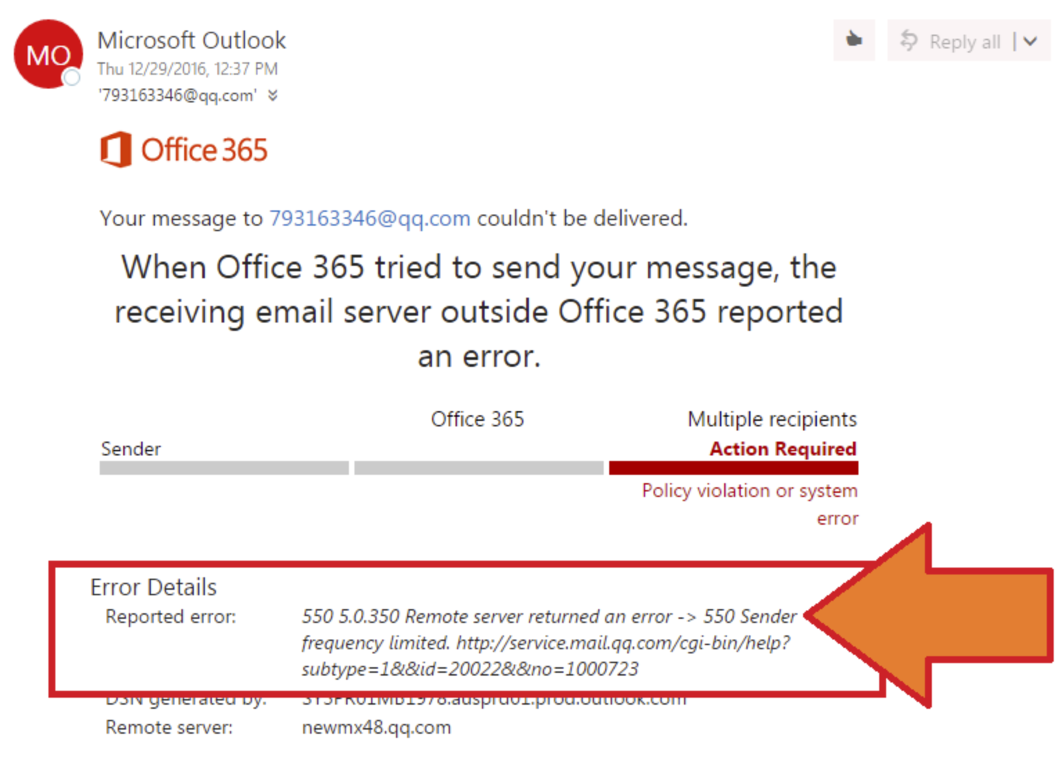 Your message to XXX couldn't be delivered. When Office 365 tried to send your message, the receiving email server outside Office 365 reported an error. Reported error: 550 5.0.350 Remote server returned an error -> 550 Serner frequency limited.