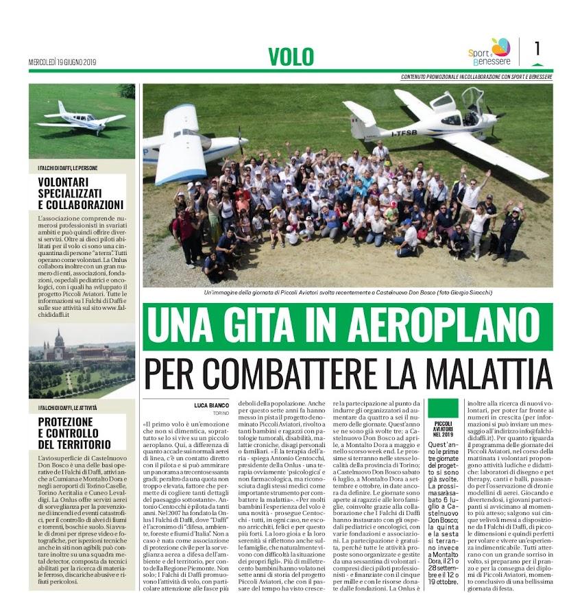 Progetto Piccoli Aviatori pubblicato su Tuttosport il 19/06/2019