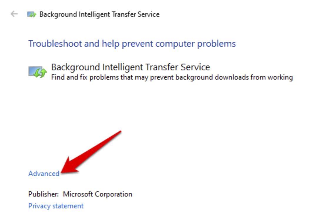 Background Intelligent Transfer Service advanced option