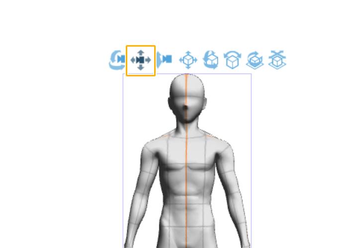 クリスタの3Dデッサン人形の表示位置を変更するアイコン