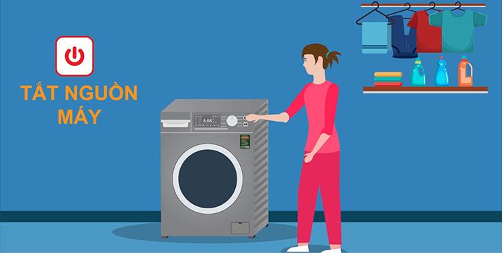Tắt nguồn và rút nguồn điện của máy giặt