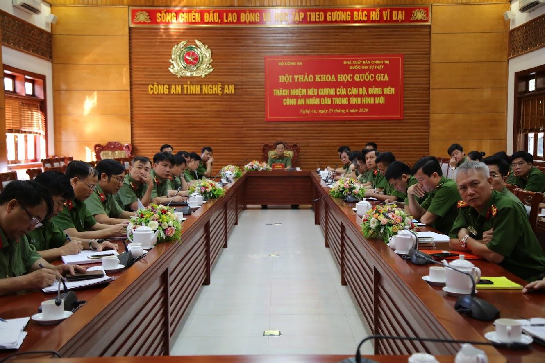 Toàn cảnh Hội thảo tại điểm cầu Công an tỉnh Nghệ An