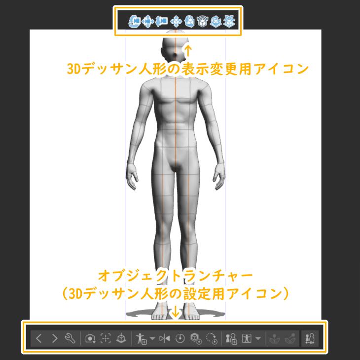 クリスタ3Dデッサン人形で表示されるアイコン
