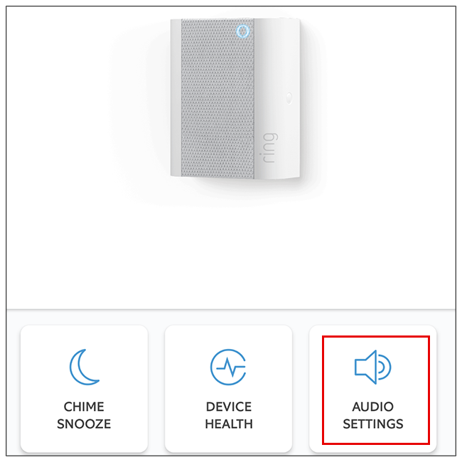 Select the Audio Settings option from Ring app settings.