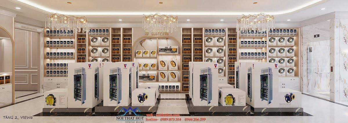 thiết kế nội thất cửa hàng phụ kiện thang máy