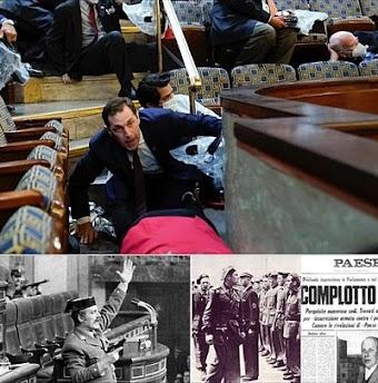 Collage: Putschereignisse, historisch und aktuell.