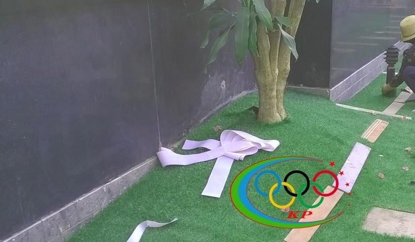 Bạn hàng đang bán hàng thì nên xài thảm cỏ nhựa làm nền