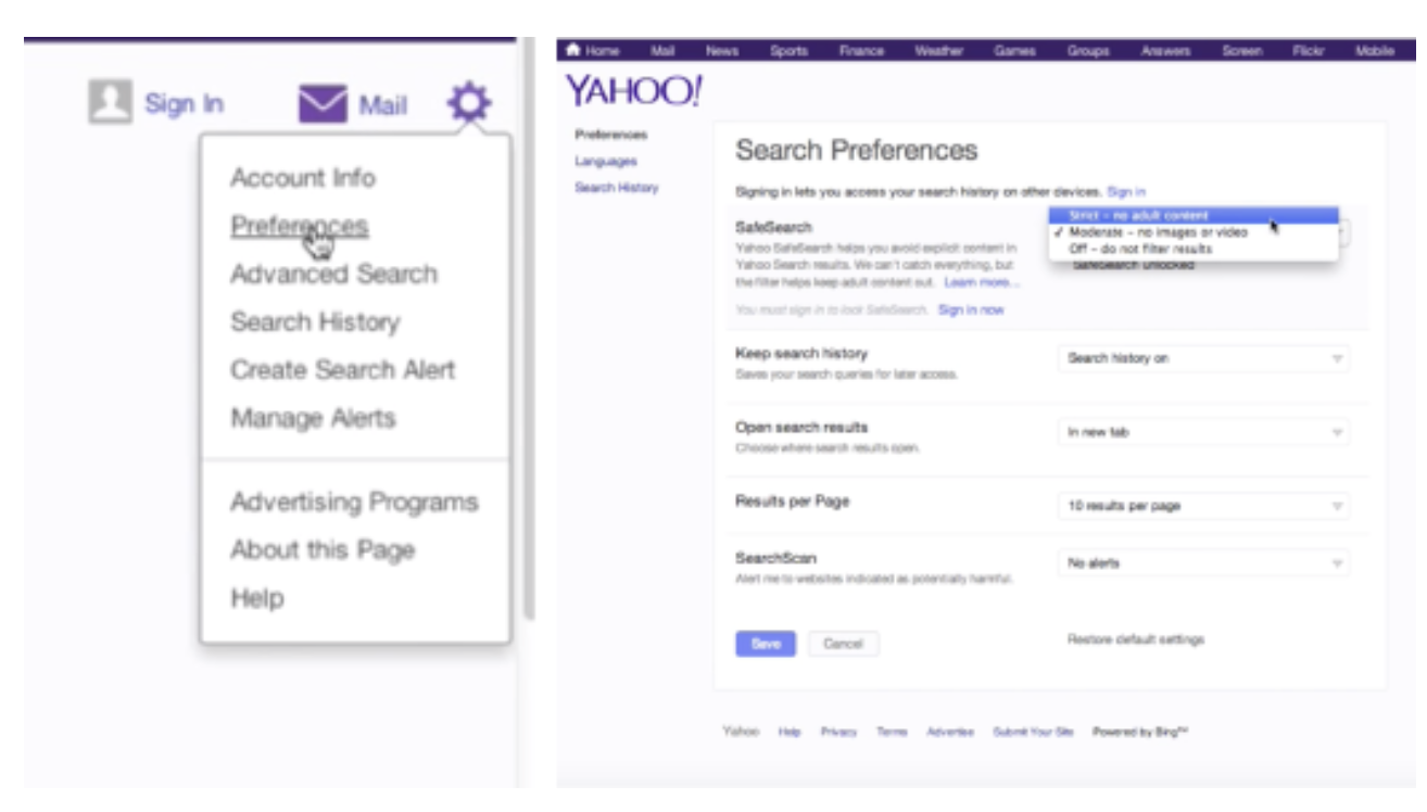 Enable SafeSearch Filters in Yahoo!