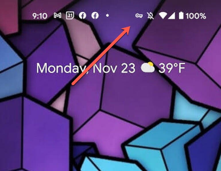 A small key icon will be shown in the notification bar at the top of the display indicating the VPN by Google One is running.
