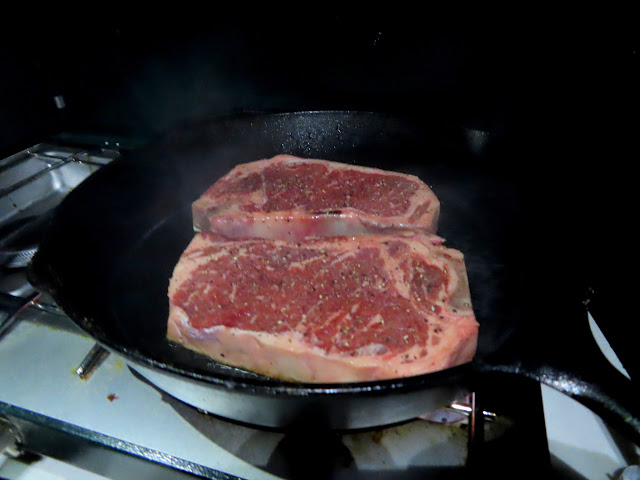 Ribeye steak for dinner on our final night of the trip