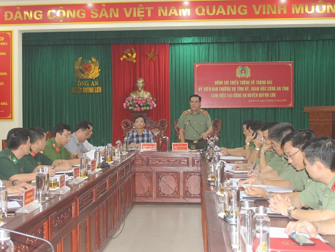 Đồng chí Thiếu tướng Võ Trọng Hải, Giám đốc Công an tỉnh chủ trì buổi làm việc