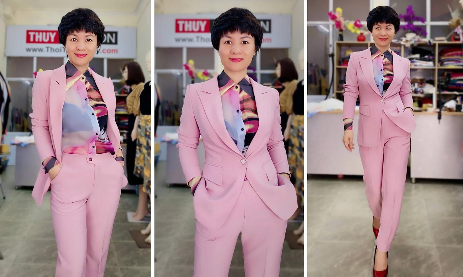 Bộ áo vest nữ mix quần baggy ông côn màu hồng V728 thời trang thủy