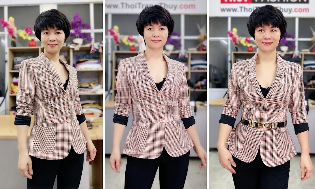 Áo vest nữ công sở kiểu peplum che bụng V739 thời trang thủy hải phòng