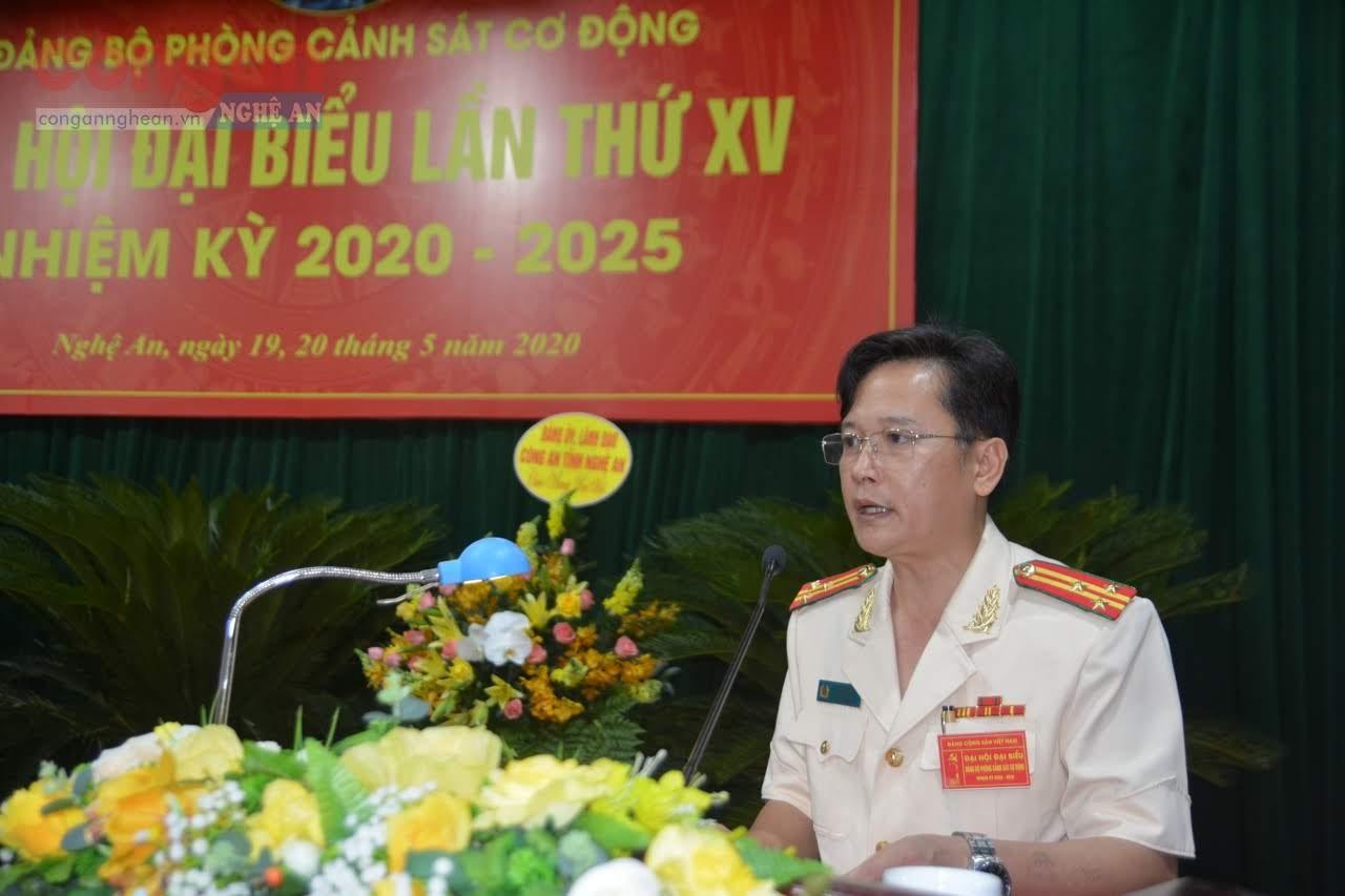 Thượng tá Hồ Nam Long - Trưởng phòng CSCĐ đọc diễn văn khai mạc