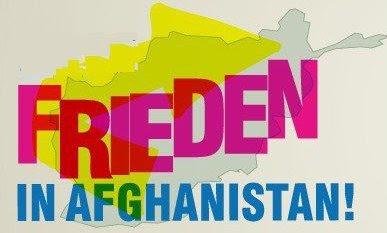 Banner: «Frieden in Afghanistan!».