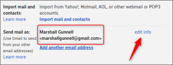 Click the edit info link to change your Gmail display name.