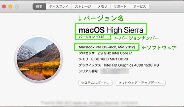 mac OS:バージョン