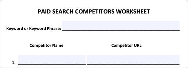 Paid Search Competitors Worksheet