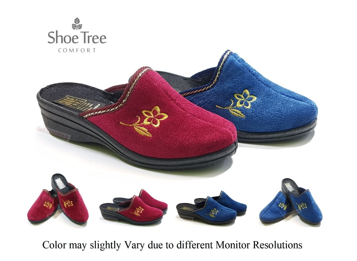 Shoe Tree Comfort Womens Ladies Delia Medium Wedge Heel Comfort Casual Slip-On Shoe in Black or Navy Blue Size 3,4,5,6,7,8