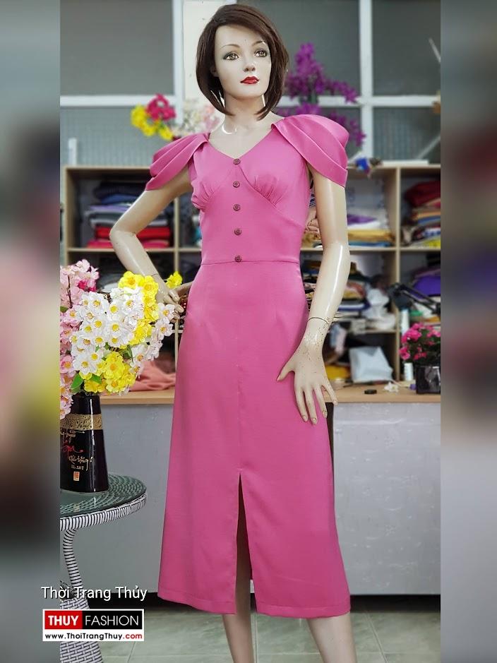 Váy dự tiệc tay bồng xếp ly màu hồng V718 thời trang thủy sài gòn