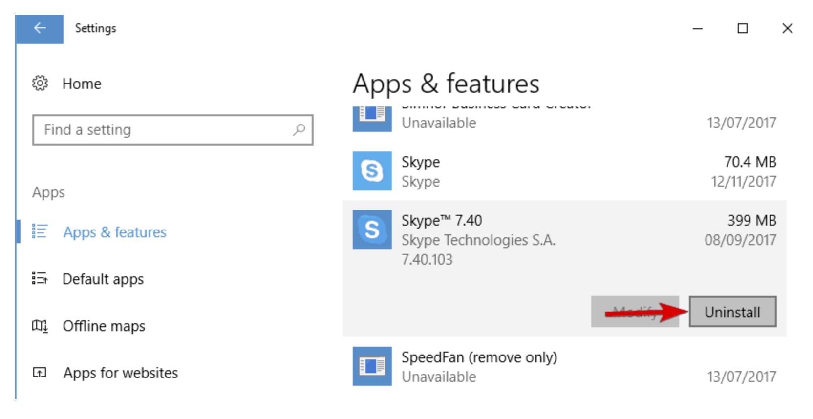 Use the Settings app to uninstall Skype