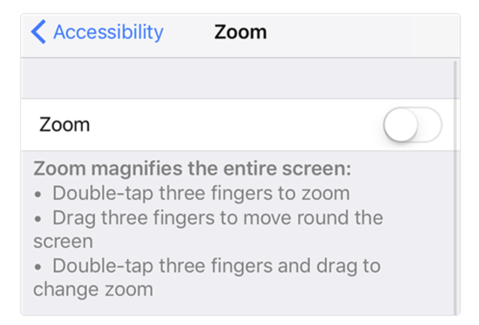 Disable Zoom function on iPhone/iPad