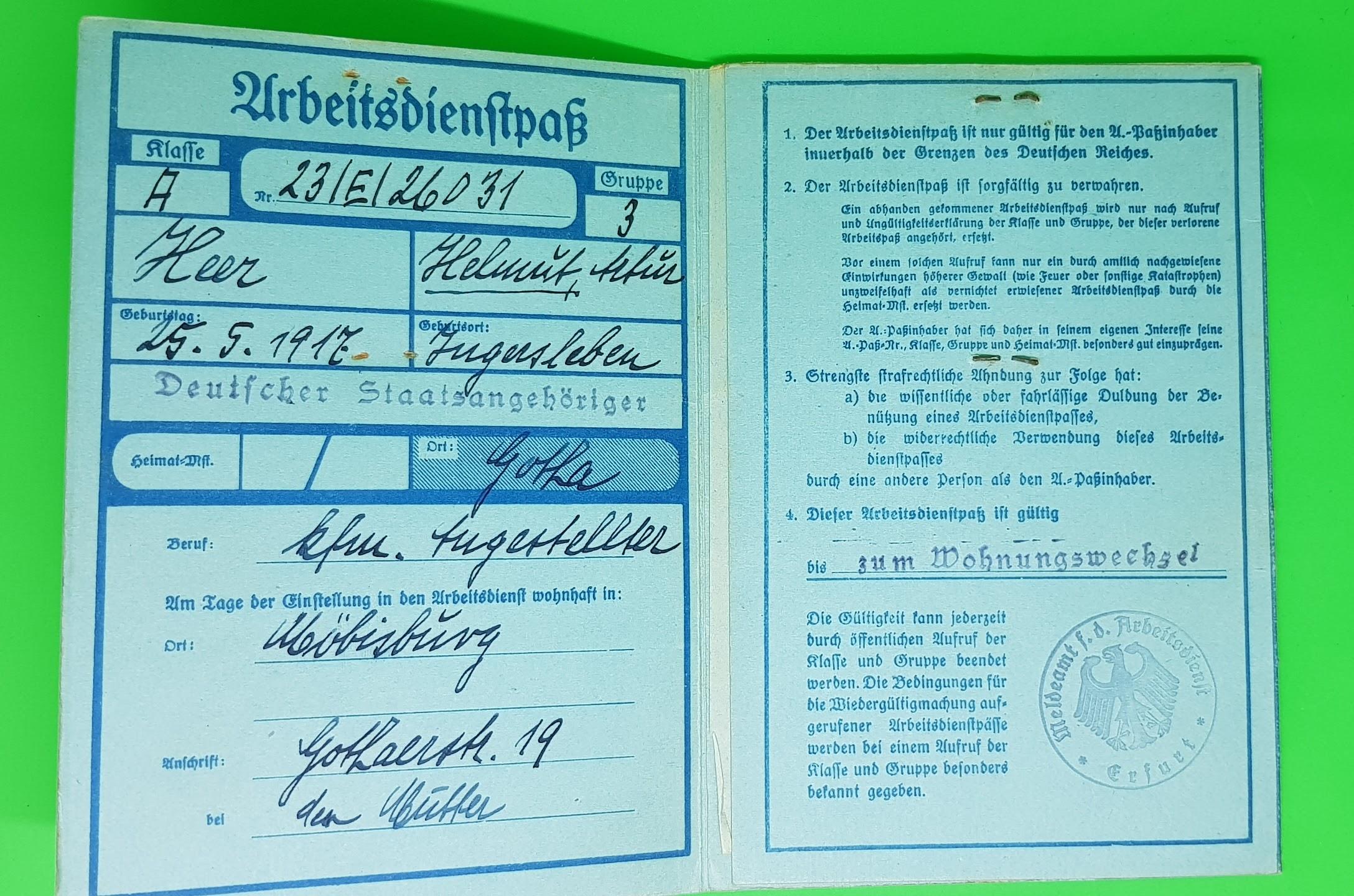Arbeitsdienstpaß des Freiwilligen Arbeitsdienstes, Vorläufer des Reichsarbeitsdienstes, 1935