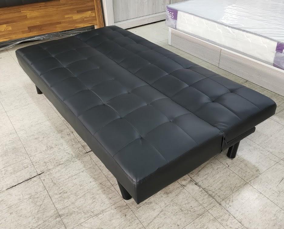 749-36 小豆黑皮沙發床