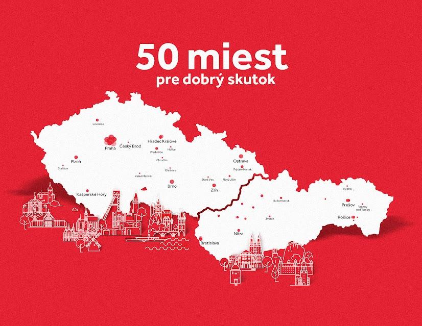 """Mapa """"50 miest pre dobrý skutok"""""""