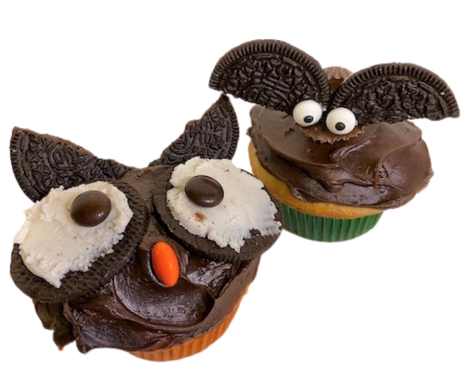 halloween decorated cupcakes - a bat and an owl