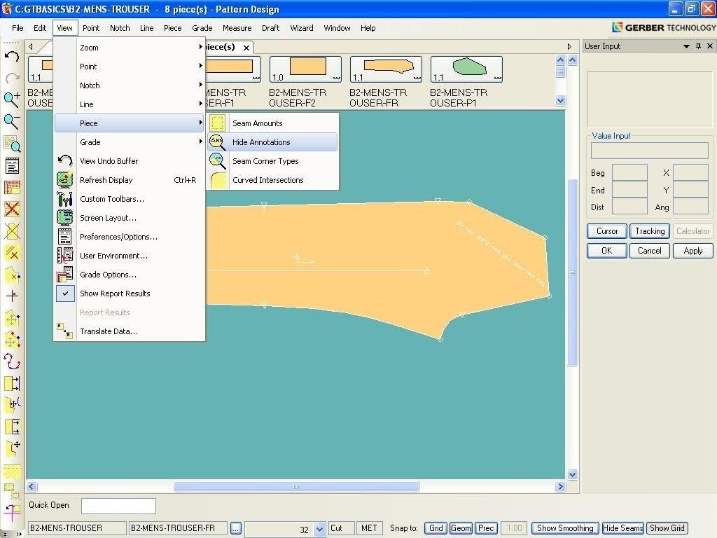 Tạo Ghi Chú Lên Chi Tiết Rập Trong Gerber Pattern Design 6