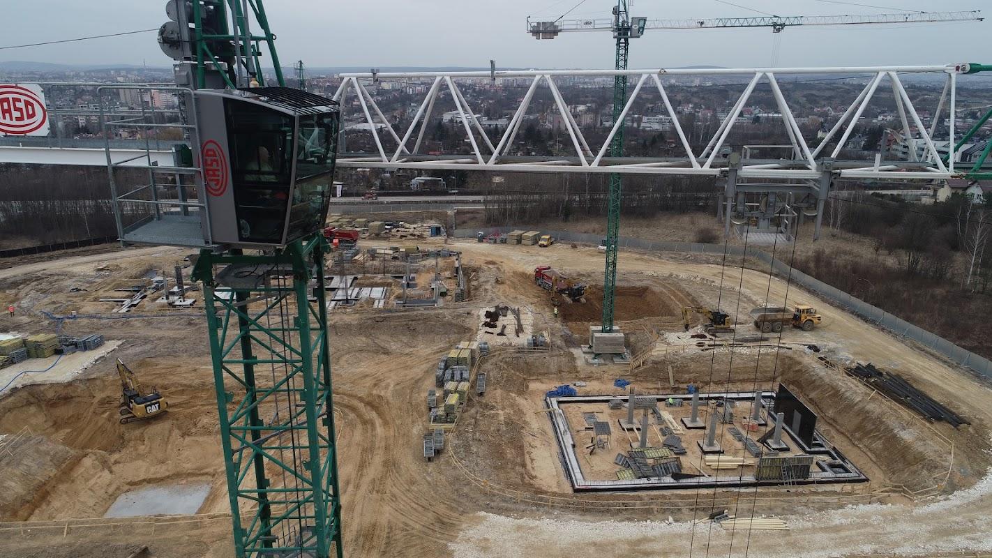 plac budowy kampus głównego urzędu miar - widok z drona z dnia 30.03.2021