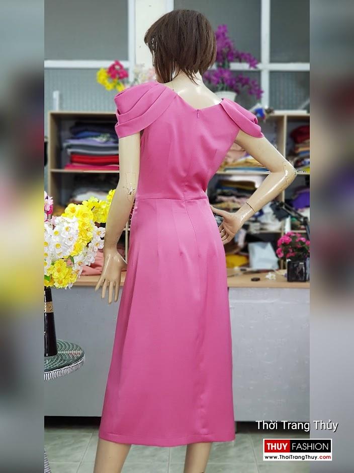 Váy dự tiệc tay bồng xếp ly màu hồng V718 thời trang thủy 3