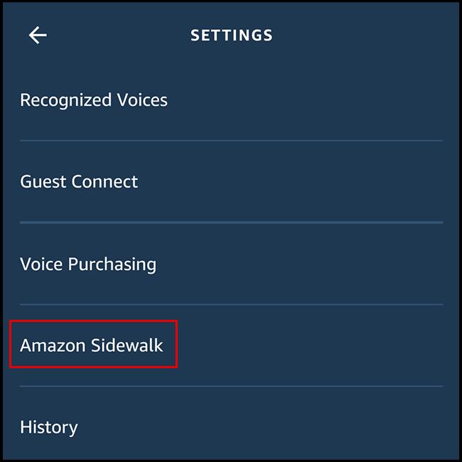 Tap the Amazon Sidewalk option in the Amazon Alexa app.