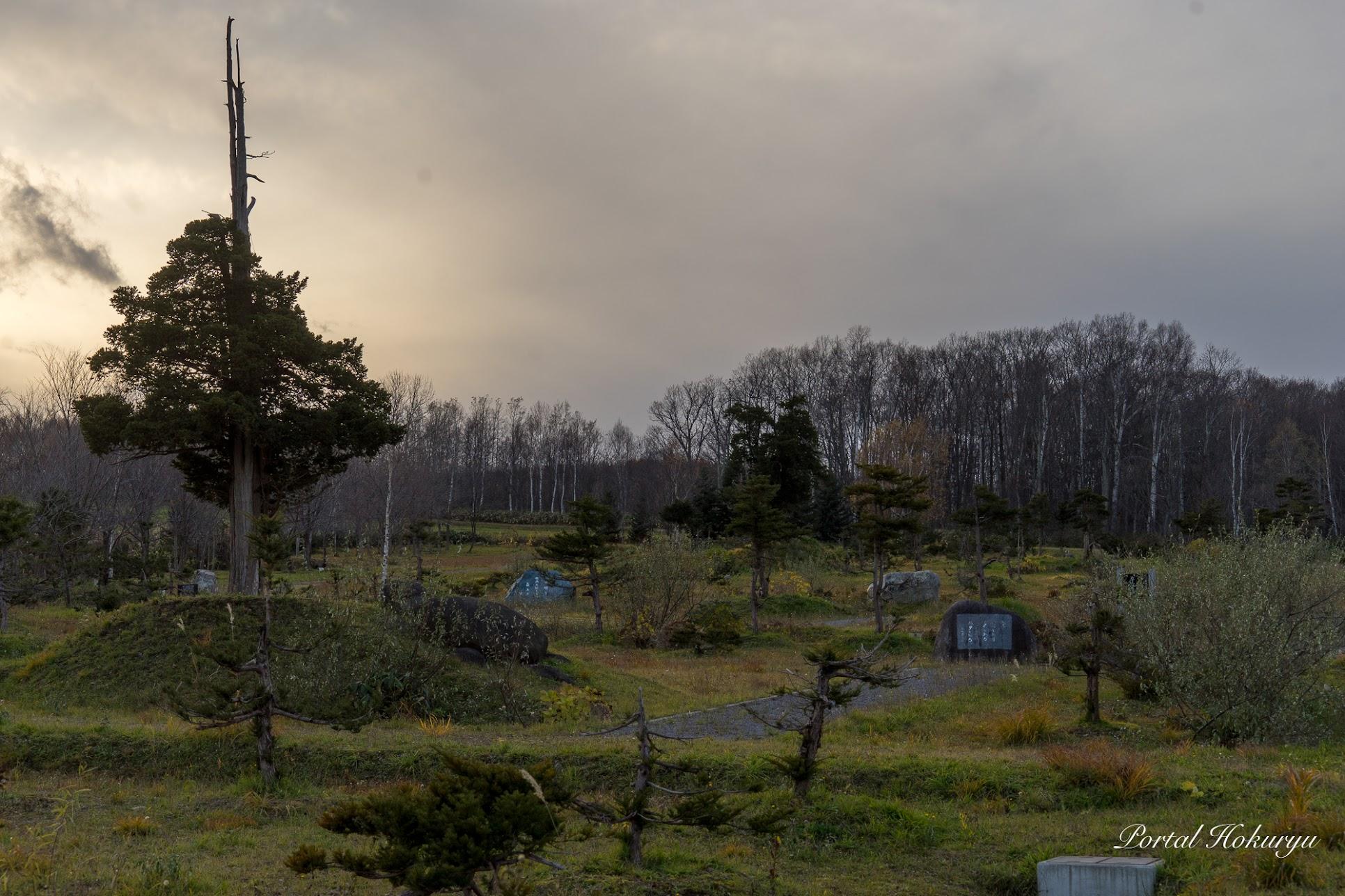 いくつもの句碑が建立されているイチイの森