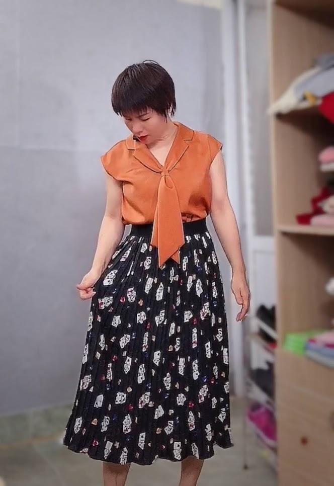 áo bám vai và phối đồ 2 kiểu váy xòe midi v763 thời trang sài gòn