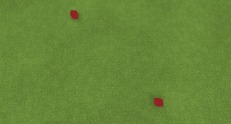 草原に赤いブロック2つ