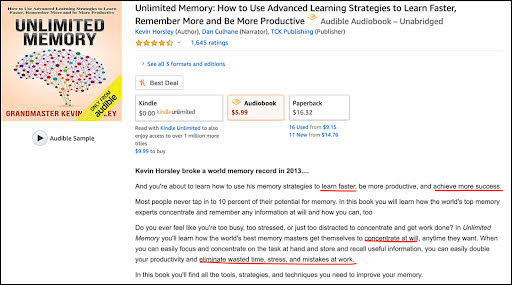 "Take a look at this example we found from searching the keywords ""memory improvement."""