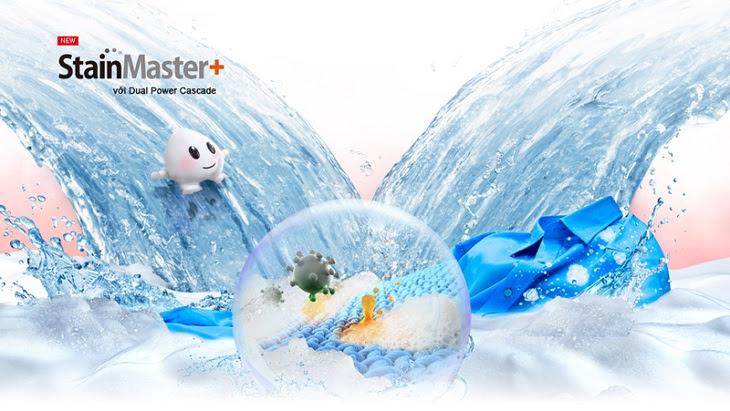 Công nghệ giặt nước nóng StainMaster+ có khả năng hạn chế được tình trạng cặn bột giặt bám trên quần áo