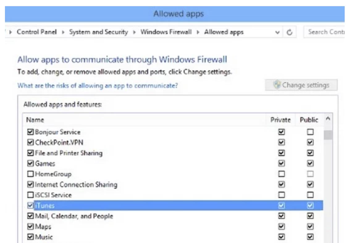 Allow iTunes in Windows Firewall