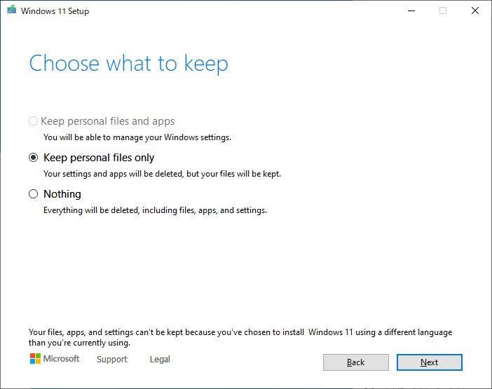 Windows 11 Leaked ISO インストール 引継ぎ選択その1