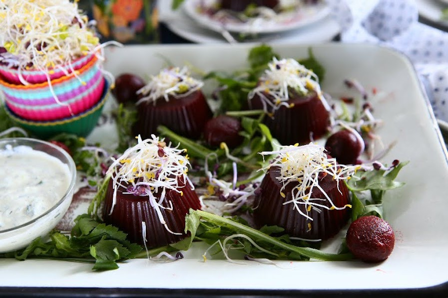 Spiced Beetroot Jelly with Sprouts and Sour Cream Dressing