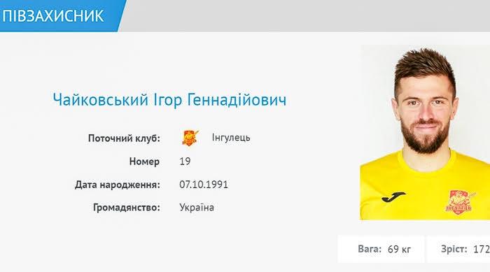 """""""Ингулец"""" дозаявил экс-игрока """"Зари"""" Игоря Чайковского"""
